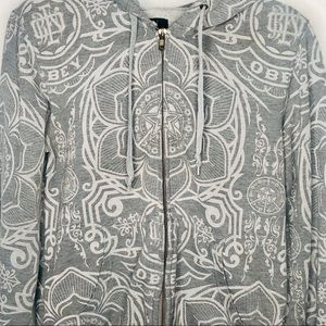 Obey Gray Graphic Hoodie | Size Large